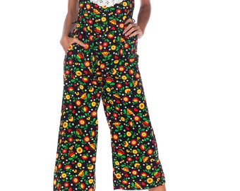 1960s Floral Ruffled Jumpsuit Size: S