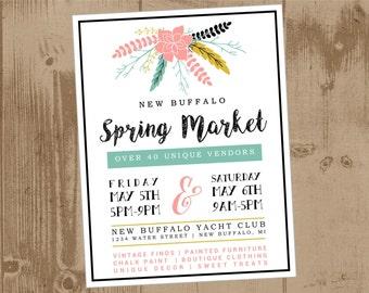 Printable Flyer - Spring Floral - Vendor Market Craft Fair Vintage Sale Flea Market Farmers Market Summer Spring coral teal black green