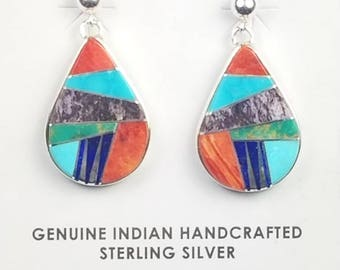 Native American Zuni handmade Sterling Silver multi-stone inlay post earrings