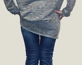 Loose long Gray Blouse/ Knitt Oversized Top/ Summer Sweater/Extra Long Sleeves / Extravagant Tunic/ F1154