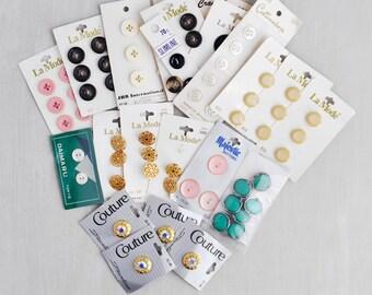 Vintage Carded Button Lot -  64 La Mode, Couture, Majestic, Slimline, plastic, metal, rhinestone buttons on original cards