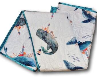 Nautical Baby Quilt * Nautical Baby Blanket * Whale Blanket * Whale Quilt * Ocean Baby Quilt * Sea Baby Quilt * Ocean Baby Blanket