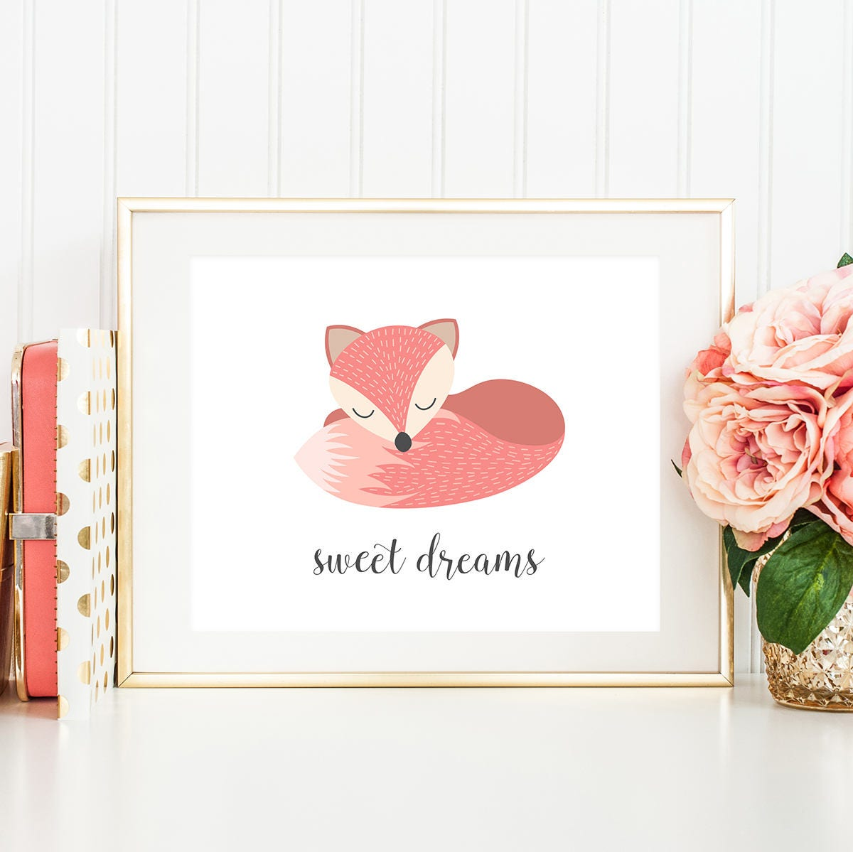 Sweet dreams baby girl nursery wall art fox nursery decor