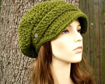 Crochet Hat Green Womens Hat Green Newsboy Hat - Crochet Newsboy Hat in Olive Green Crochet Hat - Green Hat Green Beanie Womens Accessories