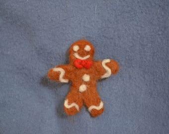 Handmade Needle Felted 6 cm Holiday Gingerbread Man Brooch
