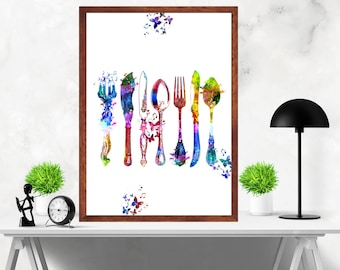 Kitchen Cutlery Fork Knife Spoon  with Butterfly Watercolor Painting Artwork Print Poster