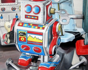 Mini Robot - Oil Painting (Photorealism, realism, oil painting, contemporary art, hyperrealism)