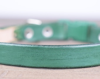 Purrfect Leather Cat Collar - Forest Green - Breakaway Safety Leather Cat Collar