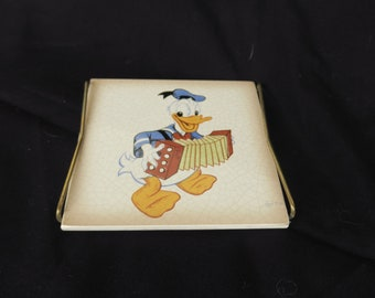 Tile decorative old Donald accordion, Walt Disney's Mickey Maus GMBH Frankfurt, old decorative tile