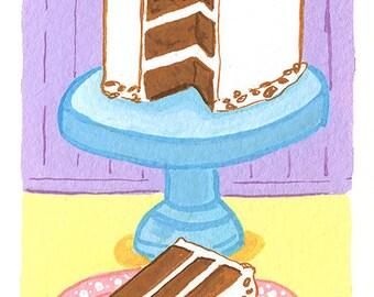 Original Art Painting, Carrot Cake, Gouache Illustration