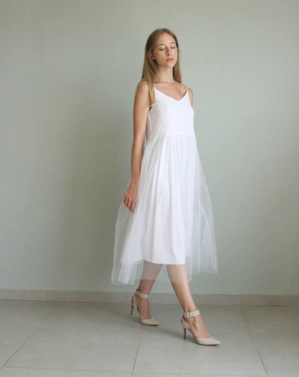 Boho Kleid weiße Hochzeit Tüll Hochzeit Kleid Brautkleid