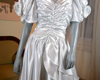 Satin Wedding Dress, 1980s German Vintage White Satin Bridal Gown, Made in West Germany: Size 14 US, 18 UK