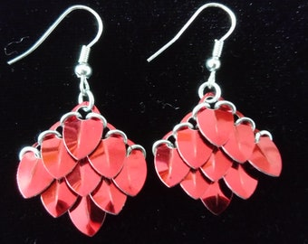 Red Scale Maille Earrings
