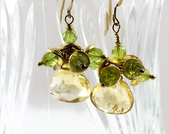 Large citrine peridot earings,  yellow and green earings, citrine earings, handmade jewelry, unique gift