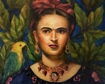 """Print - """"Frida, Diego y Bonito"""" on Archival Paper of Artist Frida Kahlo w Diego Necklace & Parrot Bonito"""