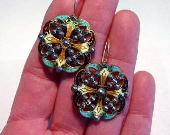 GEORGIAN CHAMPLEVE Enamel and Cut Steel Pierced 14K Drop EARRINGS