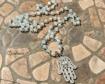 Hand of Hamsa Necklace ~ Hand of Fatima Necklace ~  Boho style ~  Moon Grey