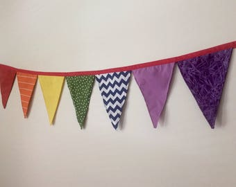 Bunting, Nursery decor, Birthday banner, Nursery bunting, Rainbow baby gift, Rainbow fabric, Rainbow baby shower, Rainbow birthday party