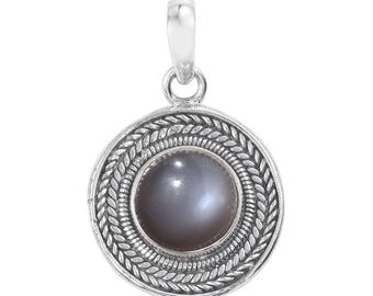 Titanium Grey Moonstone Round Cabochon Pendant Sterling Silver Without Chain TGW 2.20 Cts.