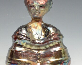 Abstract Buddha Seated in Meditation in Brilliant Shimmering Raku Ceramics