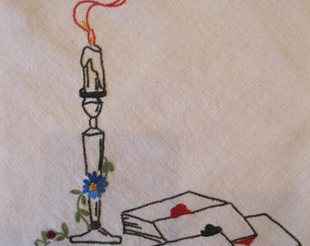 """Bridge Card Tablecloth, Embroidered with Playing Cards, Chips, Smoking Candlesticks, bias tapes tie to table legs, ivory muslin, 30.5"""" sq"""