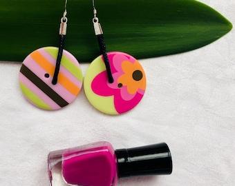 Button earrings, colorful button earrings, colorful earrings, lime green button, pink earring, flower button earring, leather dangle earring