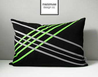 Decorative Black & White Outdoor Pillow Cover, Lime Green Pillow Cover, Geometric Pillow Cover, Sunbrella Cushion Cover, Mazizmuse