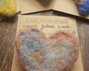 Needle felted brooch mixed colours
