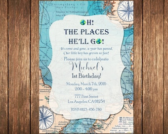 Oh the Places You'll Go Birthday Invitation, Map Birthday Invitation, Travel Birthday Party Invitation, Travel Theme Birthday Invite