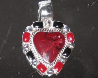 Vintage Sterling Silver Bloodstone & Onyx Heart Pendant M59