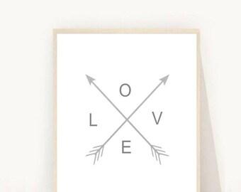 Love Wall Art, Arrow Print, Printable Art, Grey wall Prints, Modern Wall Art, Instant download, Digital Art, Arrow Love Print