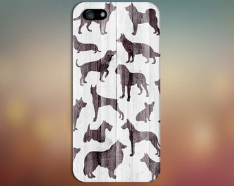 Dog Breed Silhouette x White Wood Design Case for iPhone 8 6 Plus iPhone X  Samsung Galaxy s9 edge s6 and Note 8  S8 Plus Phone Case