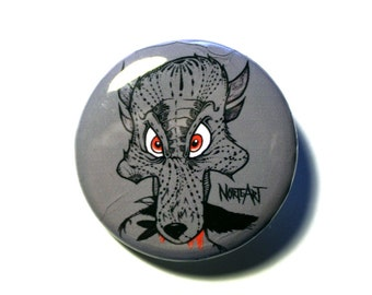 Wolf eating Crow Button