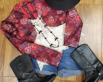 Pretty 80s floral lace cropped jacket.