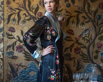 Hand Embroidered 100% Silk Dressing Gown Kimono