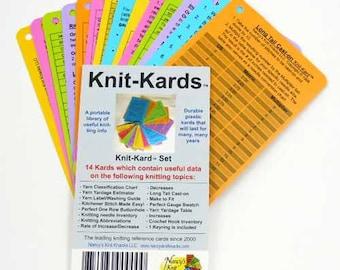 Knit-Kards Nancy's Knit Knacks Knitting Technique Reference Card Set Instruction