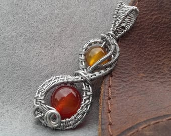 Orange Agate Pendant. Wire wrapped, Handmade jewellery. Lovely gift! Valentines