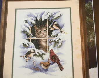 Cute counted cross stitch pattern WHISKERS & WINGS..Leisure Arts