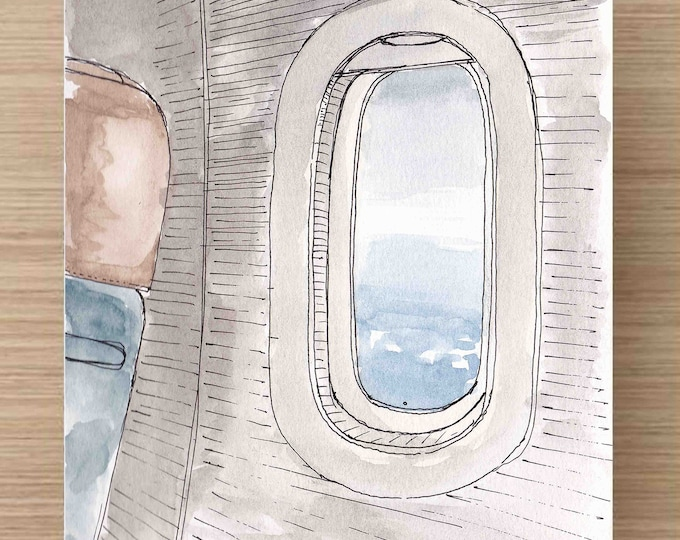 Watercolor and Ink Painting of Airplane Window - Travel, Flight, Fly, Clouds, Ink Drawing, Sketch, Watercolor, Art, Pen and Ink, 5x7, 8x10