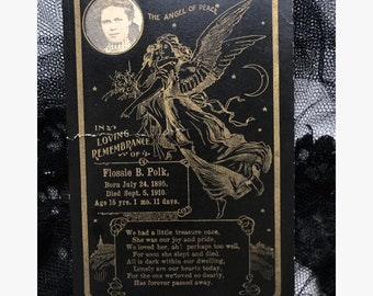 Antique 1910 funeral memorial card with photo of the deceased inset | Flossie Bellamy Polk | Dent, Arkansas