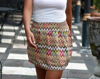 Chevron Skirt with Pockets, Tribal Skirt, Summer Colors Womens Mini Skirt, Earthy Tone
