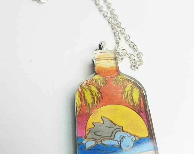 Sleeping Lapras Succulent Bottle Terrarium Pokemon Inspired Necklace | Laser Cut Jewelry | Handmade Necklace