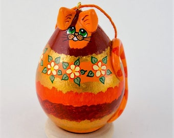 Tabby cat, Gourd Art, Ornament, Striped Tabby, Whimsical Cat, Painted Gourd, Egg Gourd, Orange Tabby, Holiday Ornament, Christmas Ornament