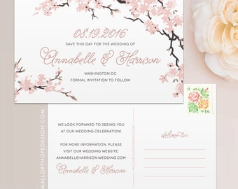 Cherry Blossoms Branches Save the Date Postcard / Magnet / Flat Card - Outdoor Save the Date, Spring Wedding, Washington DC Wedding