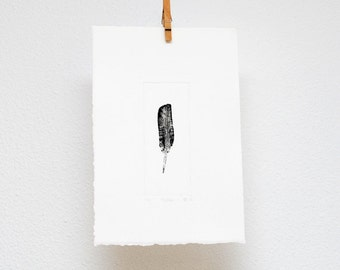 Feather, etching, hand printed, original wall art, woodland print