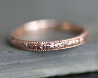 14K Solid ROSE Gold Thin Flower Pattern Ring  - Wedding Band - Made to Order - Victorian Vintage Style - Milgrain VIOLET