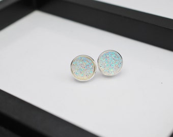Clear Druzy Studs, Druzy Earrings, Iridescent Stud Earrings, Drusy Studs, 12mm Druzy Stud Earrings, Druzy Stud Earrings, Faux Druzy Studs