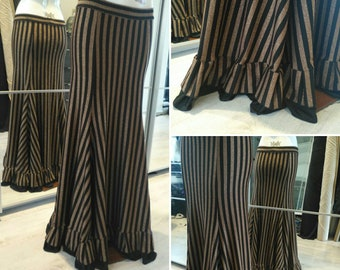 Tribal fusion bronze and black striped ruffled skirt