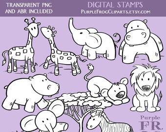 SWEET SAFARI - Digital Stamp Set. 11 images, 300 dpi. jpeg, png, abr files. Instant download.