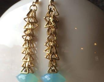 AQUA chalcedony and brass triangle chain fringe earrings